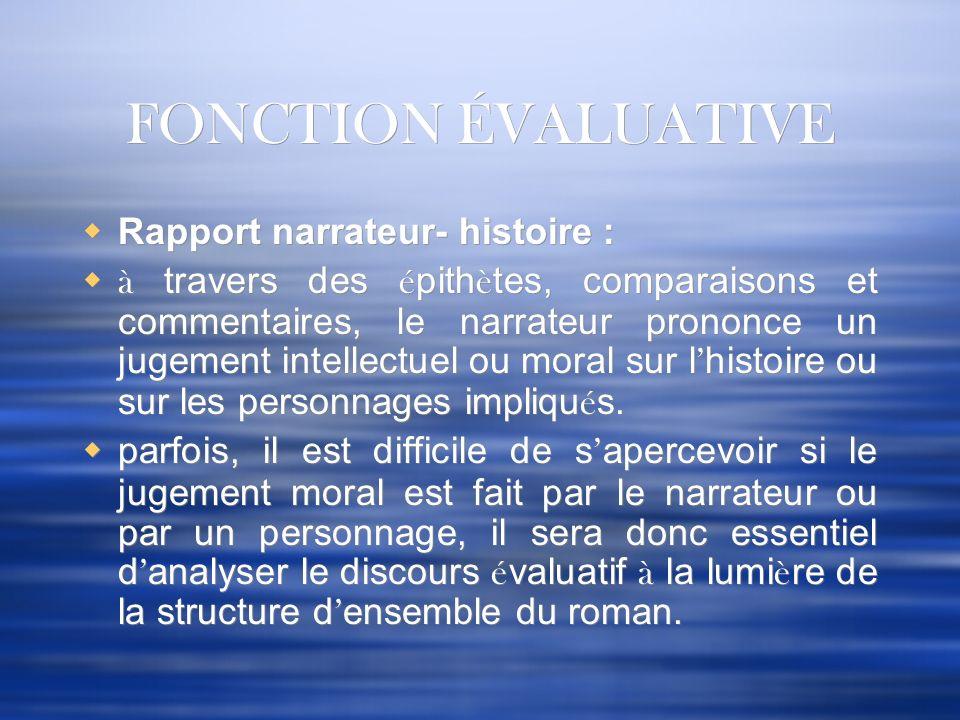 FONCTION ÉVALUATIVE Rapport narrateur- histoire : à travers des é pith è tes, comparaisons et commentaires, le narrateur prononce un jugement intellec