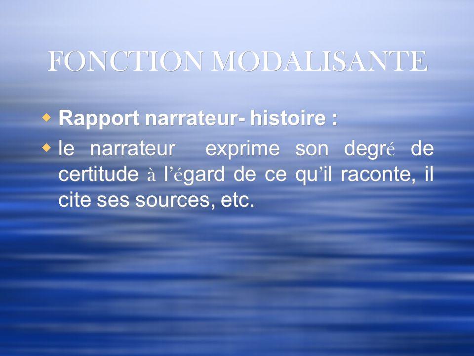 FONCTION MODALISANTE Rapport narrateur- histoire : le narrateur exprime son degr é de certitude à l é gard de ce qu il raconte, il cite ses sources, e