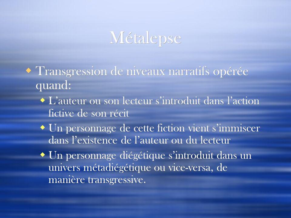 Métalepse Transgression de niveaux narratifs opérée quand: Lauteur ou son lecteur sintroduit dans laction fictive de son récit Un personnage de cette
