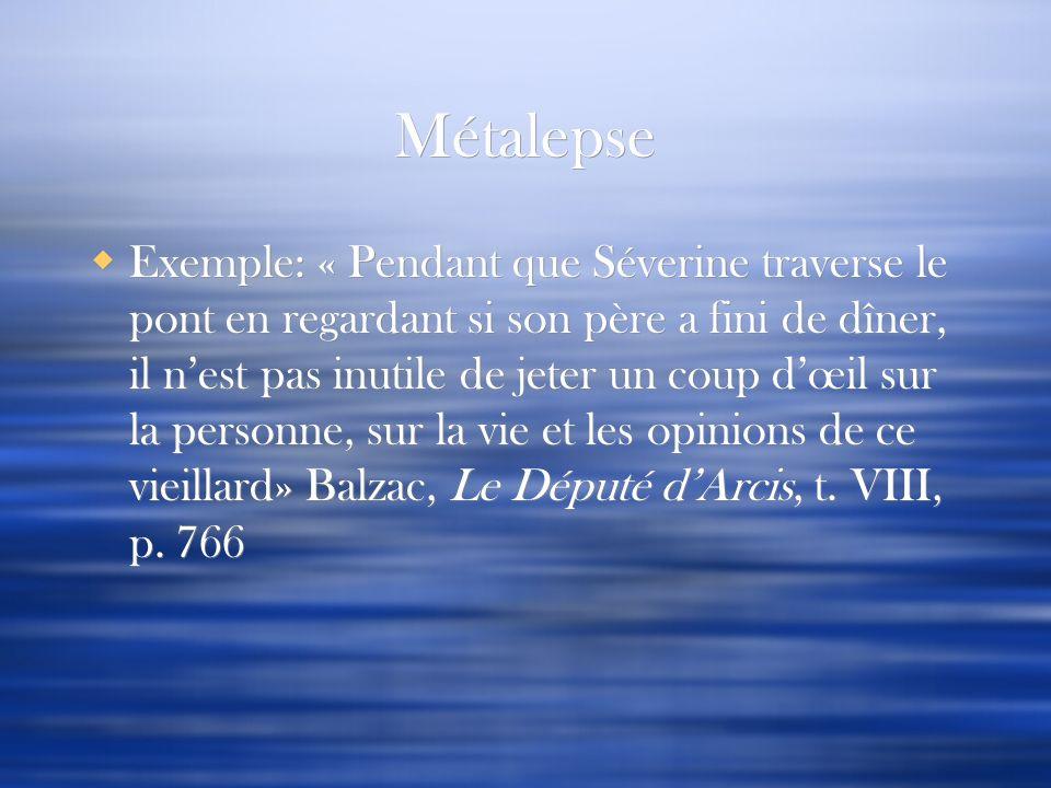 Métalepse Exemple: « Pendant que Séverine traverse le pont en regardant si son père a fini de dîner, il nest pas inutile de jeter un coup dœil sur la