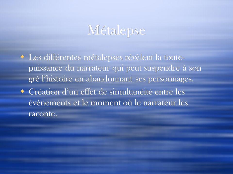 Métalepse Les différentes métalepses révèlent la toute- puissance du narrateur qui peut suspendre à son gré lhistoire en abandonnant ses personnages.
