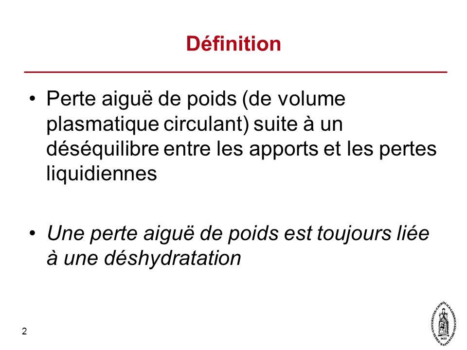 2 Définition Perte aiguë de poids (de volume plasmatique circulant) suite à un déséquilibre entre les apports et les pertes liquidiennes Une perte aig