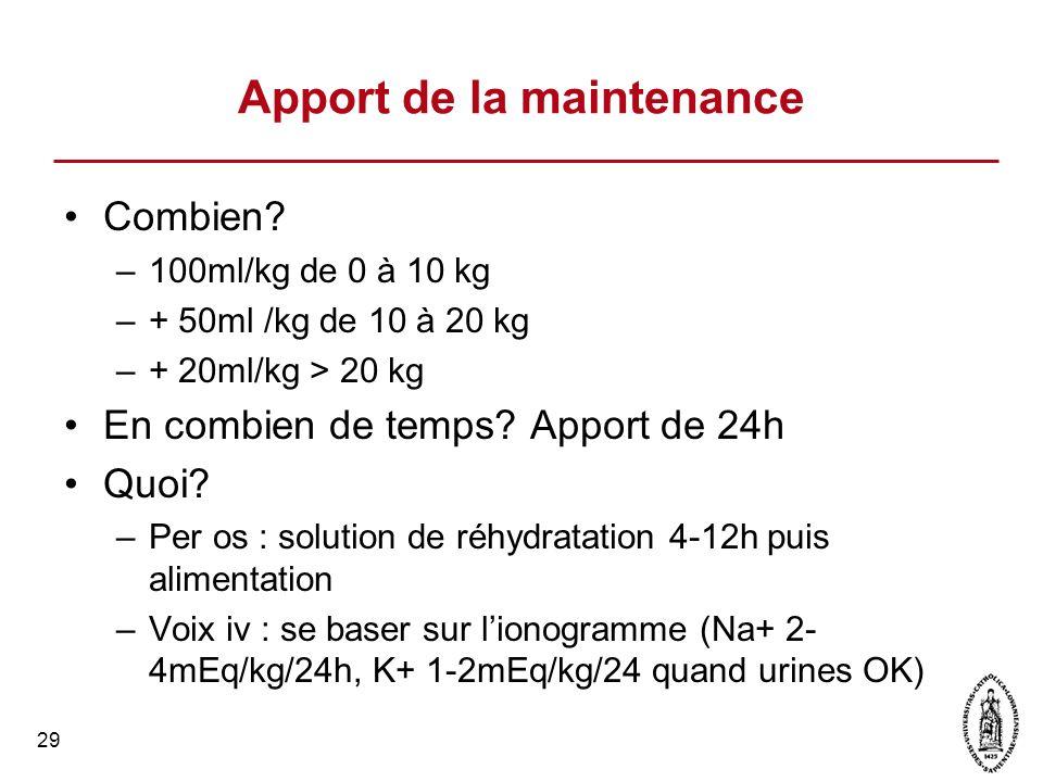 29 Apport de la maintenance Combien? –100ml/kg de 0 à 10 kg –+ 50ml /kg de 10 à 20 kg –+ 20ml/kg > 20 kg En combien de temps? Apport de 24h Quoi? –Per