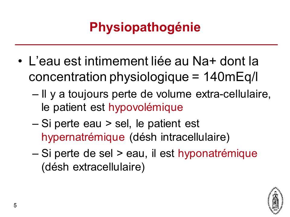 5 Physiopathogénie Leau est intimement liée au Na+ dont la concentration physiologique = 140mEq/l –Il y a toujours perte de volume extra-cellulaire, l