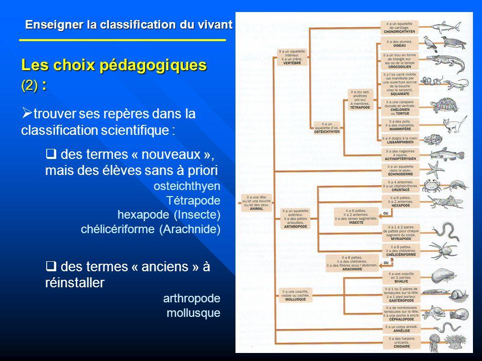 Enseigner la classification du vivant Les choix pédagogiques (2) : trouver ses repères dans la classification scientifique : des termes « nouveaux »,
