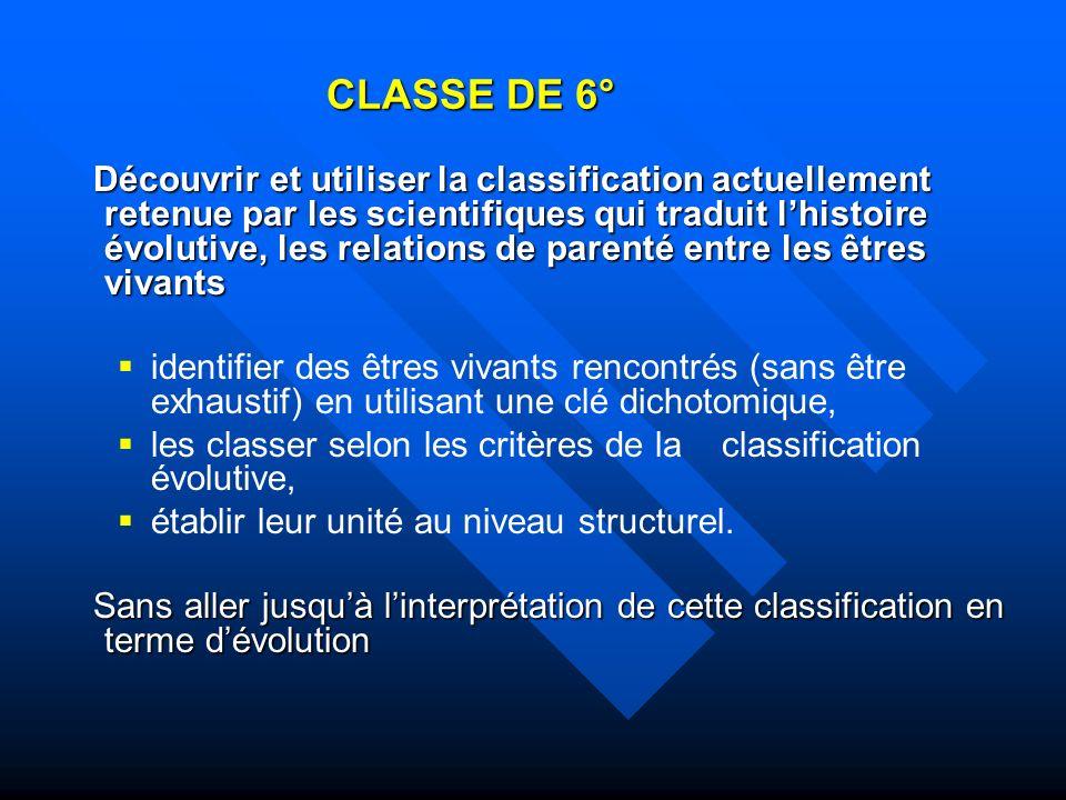 CLASSE DE 6° Découvrir et utiliser la classification actuellement retenue par les scientifiques qui traduit lhistoire évolutive, les relations de pare