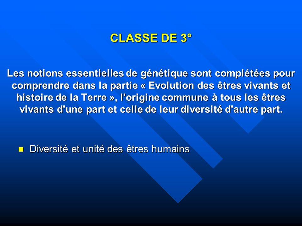 CLASSE DE 3° Les notions essentielles de génétique sont complétées pour comprendre dans la partie « Evolution des êtres vivants et histoire de la Terr