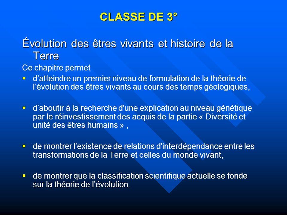 CLASSE DE 3° Évolution des êtres vivants et histoire de la Terre Ce chapitre permet datteindre un premier niveau de formulation de la théorie de lévol