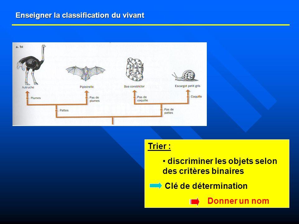 Enseigner la classification du vivant Trier : discriminer les objets selon des critères binaires Clé de détermination Donner un nom