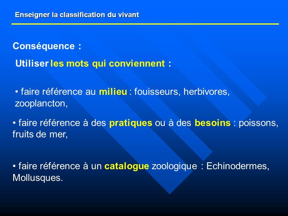 Enseigner la classification du vivant Conséquence : Utiliser les mots qui conviennent : faire référence au milieu : fouisseurs, herbivores, zooplancto