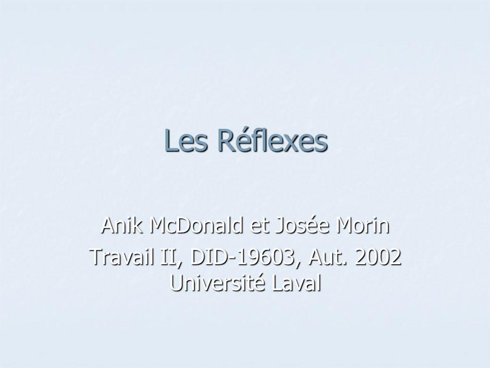 Les Réflexes Anik McDonald et Josée Morin Travail II, DID-19603, Aut. 2002 Université Laval