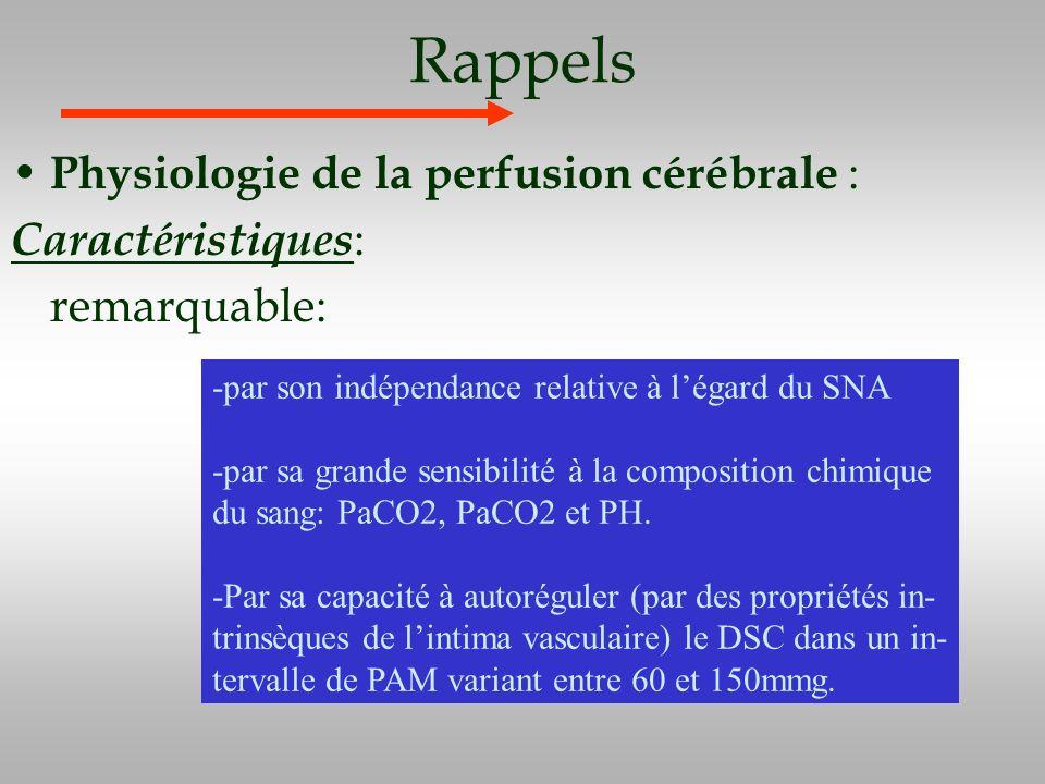 Rappels Physiologie de la perfusion cérébrale : Caractéristiques : remarquable: -par son indépendance relative à légard du SNA -par sa grande sensibil