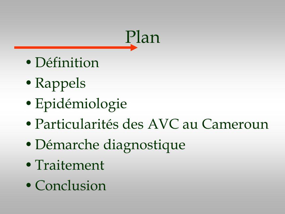 Plan Définition Rappels Epidémiologie Particularités des AVC au Cameroun Démarche diagnostique Traitement Conclusion