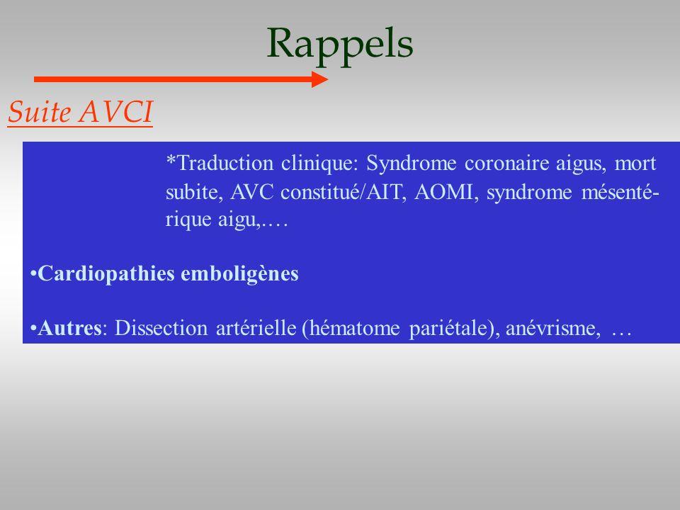 Rappels Suite AVCI *Traduction clinique: Syndrome coronaire aigus, mort subite, AVC constitué/AIT, AOMI, syndrome mésenté- rique aigu,.… Cardiopathies