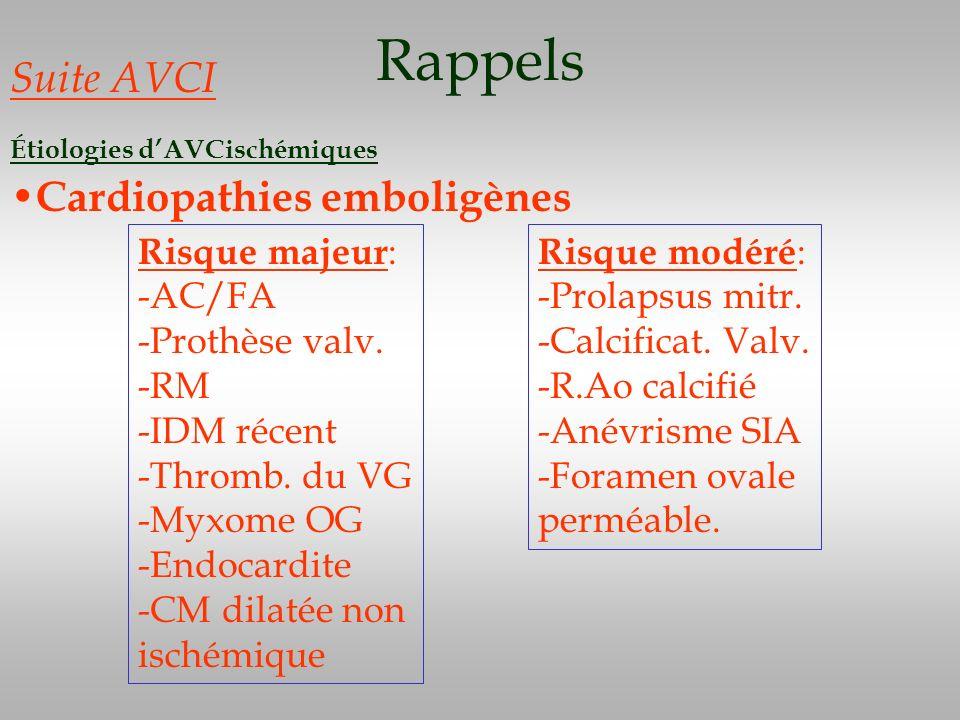 Rappels Suite AVCI Étiologies dAVCischémiques Cardiopathies emboligènes Risque majeur : -AC/FA -Prothèse valv. -RM -IDM récent -Thromb. du VG -Myxome