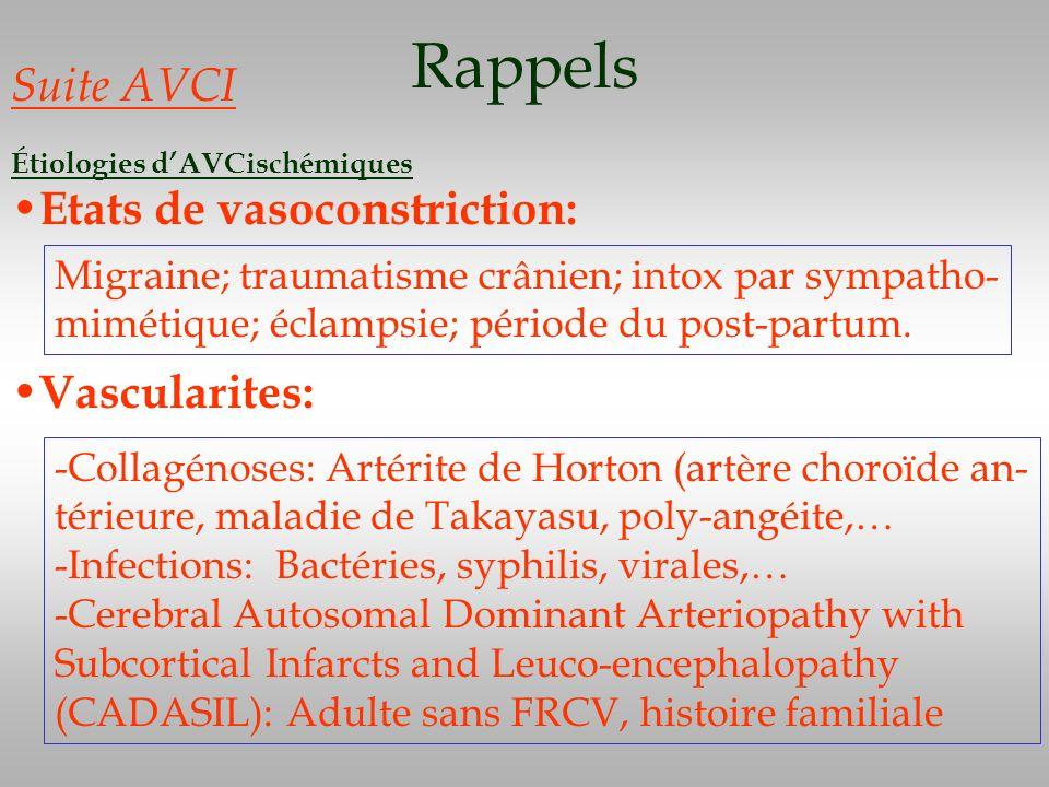 Rappels Suite AVCI Étiologies dAVCischémiques Etats de vasoconstriction: Migraine; traumatisme crânien; intox par sympatho- mimétique; éclampsie; péri
