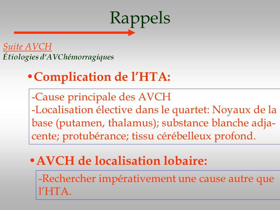 Rappels Complication de lHTA: Suite AVCH Étiologies dAVChémorragiques -Cause principale des AVCH -Localisation élective dans le quartet: Noyaux de la