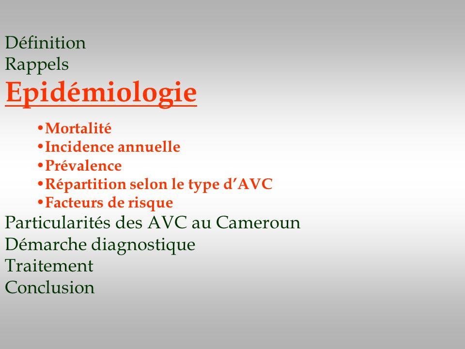 Définition Rappels Epidémiologie Particularités des AVC au Cameroun Démarche diagnostique Traitement Conclusion Mortalité Incidence annuelle Prévalenc