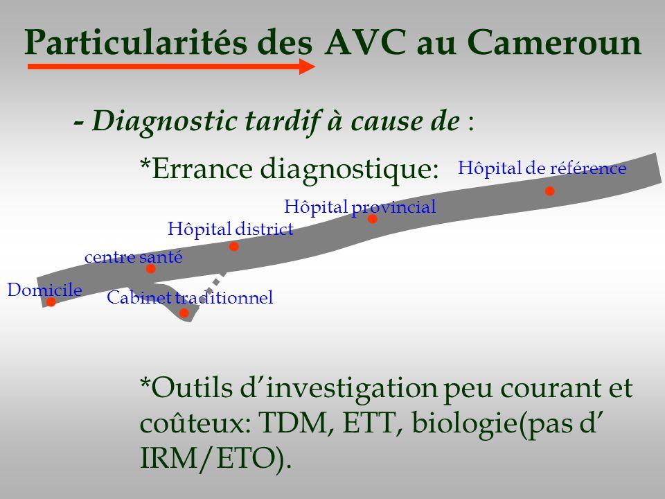 Particularités des AVC au Cameroun - Diagnostic tardif à cause de : *Errance diagnostique: *Outils dinvestigation peu courant et coûteux: TDM, ETT, bi