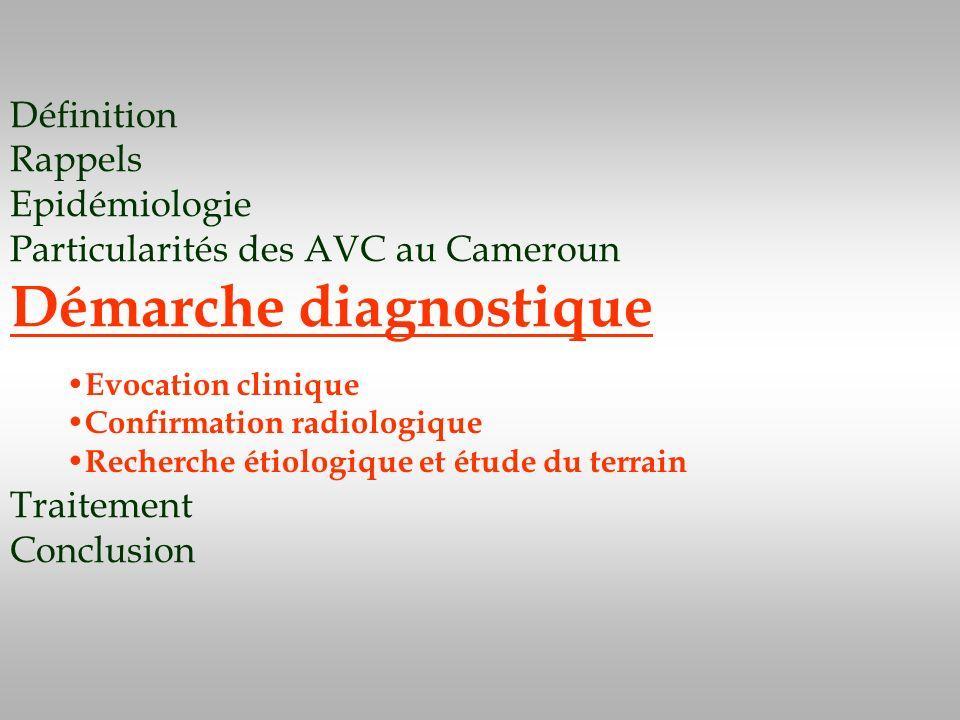 Définition Rappels Epidémiologie Particularités des AVC au Cameroun Démarche diagnostique Traitement Conclusion Evocation clinique Confirmation radiol