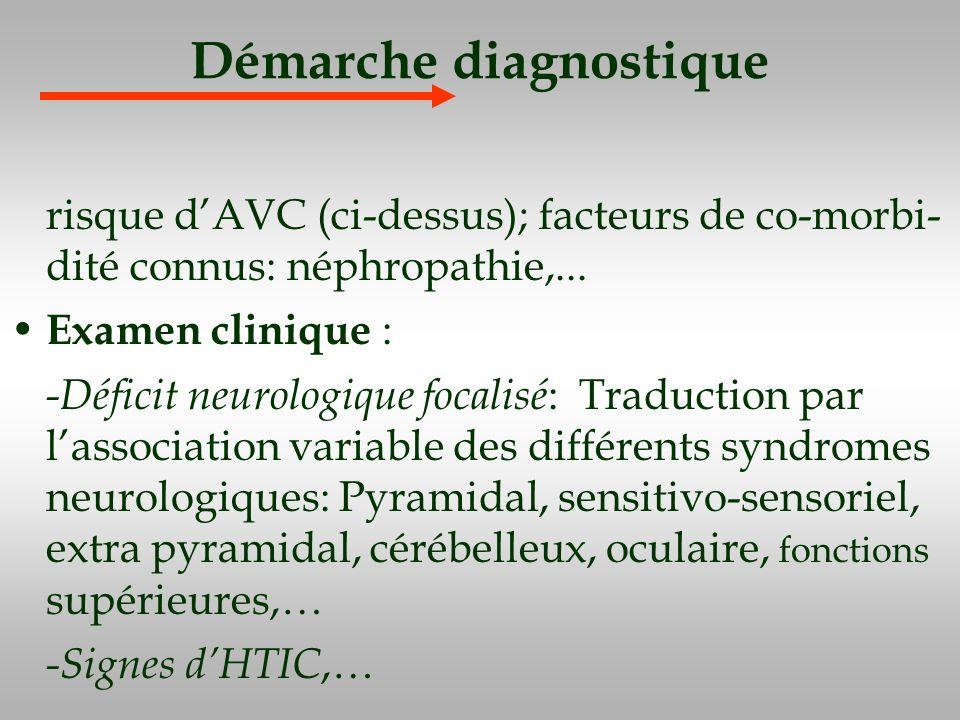 Démarche diagnostique risque dAVC (ci-dessus); facteurs de co-morbi- dité connus: néphropathie,... Examen clinique : -Déficit neurologique focalisé :