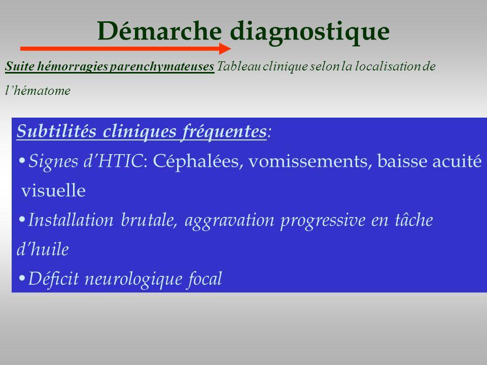 Démarche diagnostique Subtilités cliniques fréquentes : Signes dHTIC : Céphalées, vomissements, baisse acuité visuelle Installation brutale, aggravati