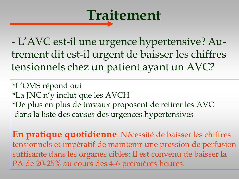 Traitement - LAVC est-il une urgence hypertensive? Au- trement dit est-il urgent de baisser les chiffres tensionnels chez un patient ayant un AVC? *LO