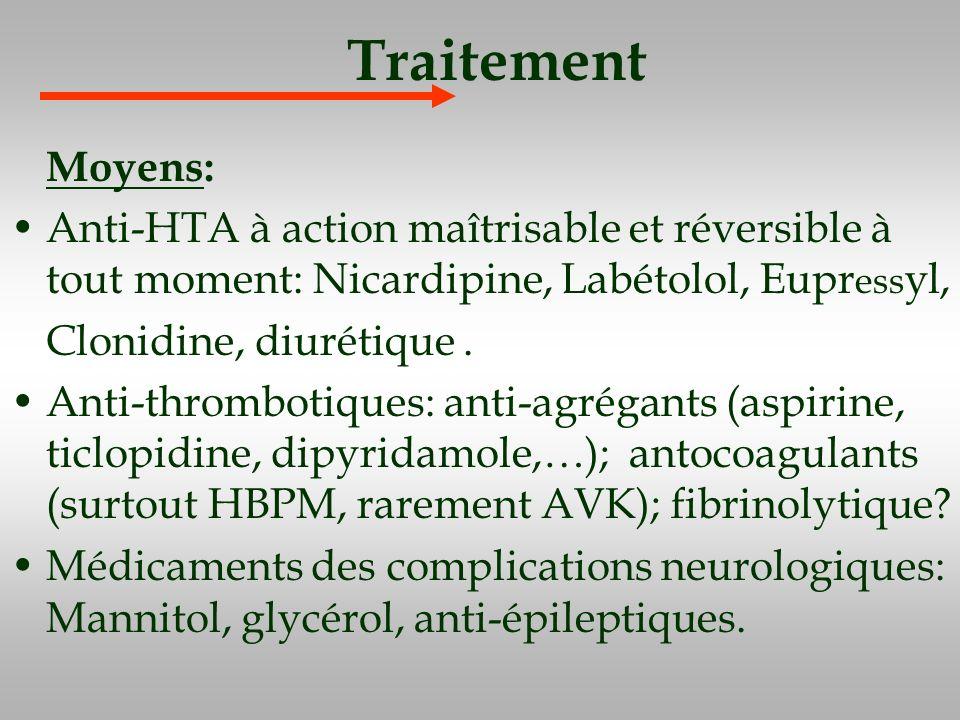 Traitement Moyens: Anti-HTA à action maîtrisable et réversible à tout moment: Nicardipine, Labétolol, Eupr ess yl, Clonidine, diurétique. Anti-thrombo