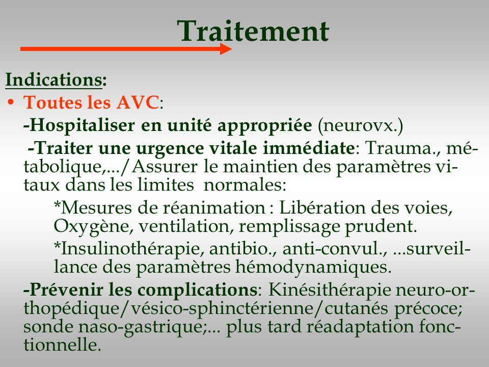 Traitement Indications: Toutes les AVC : -Hospitaliser en unité appropriée (neurovx.) -Traiter une urgence vitale immédiate : Trauma., mé- tabolique,.