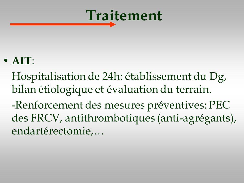 Traitement AIT : Hospitalisation de 24h: établissement du Dg, bilan étiologique et évaluation du terrain. -Renforcement des mesures préventives: PEC d