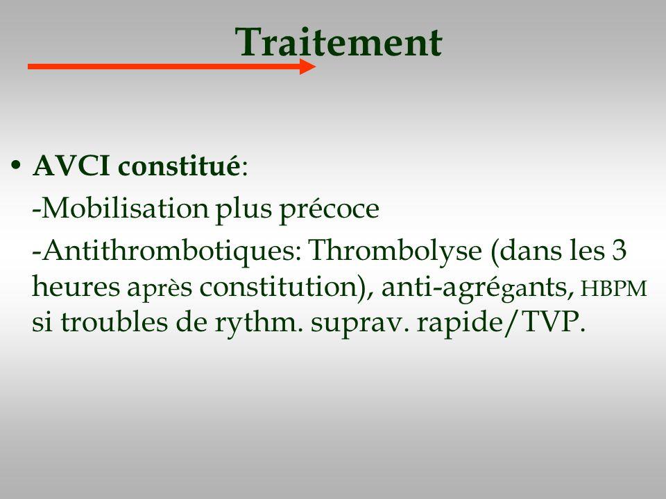 Traitement AVCI constitué : -Mobilisation plus précoce -Antithrombotiques: Thrombolyse (dans les 3 heures a prè s constitution), anti-agré ga nts, HBP