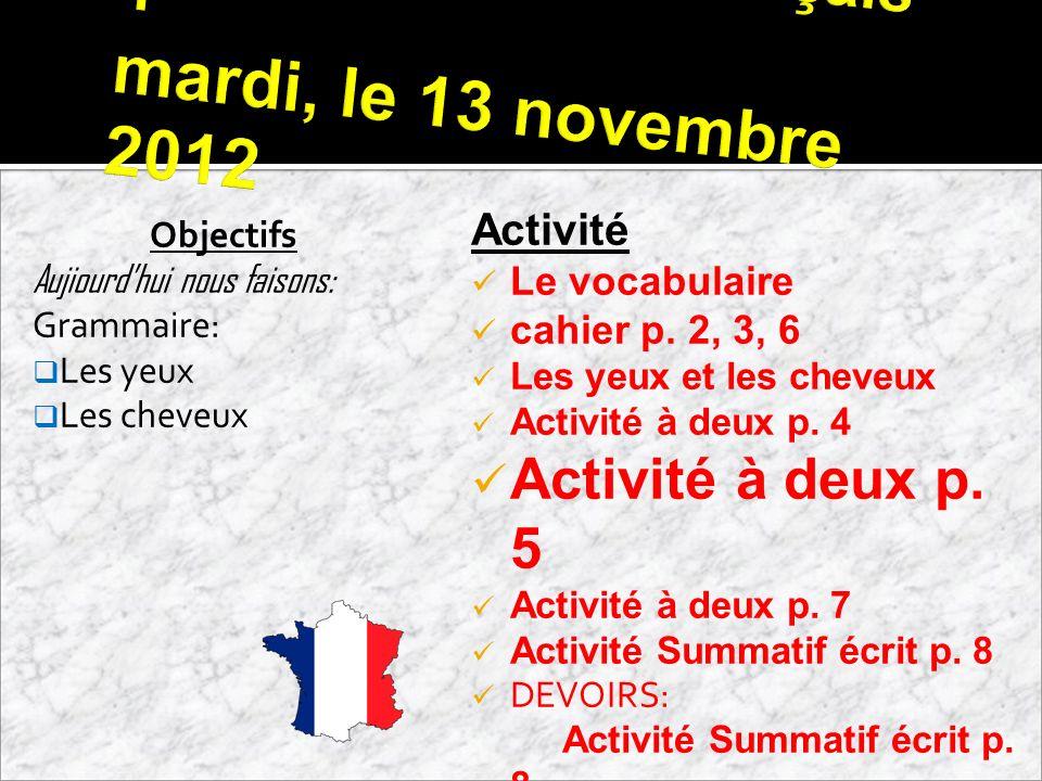 Français 1 mardi, le 13 novembre 2012 Objectifs Aujiourdhui nous faisons: Grammaire: Les yeux Les cheveux Activité Le vocabulaire cahier p. 2, 3, 6 Le