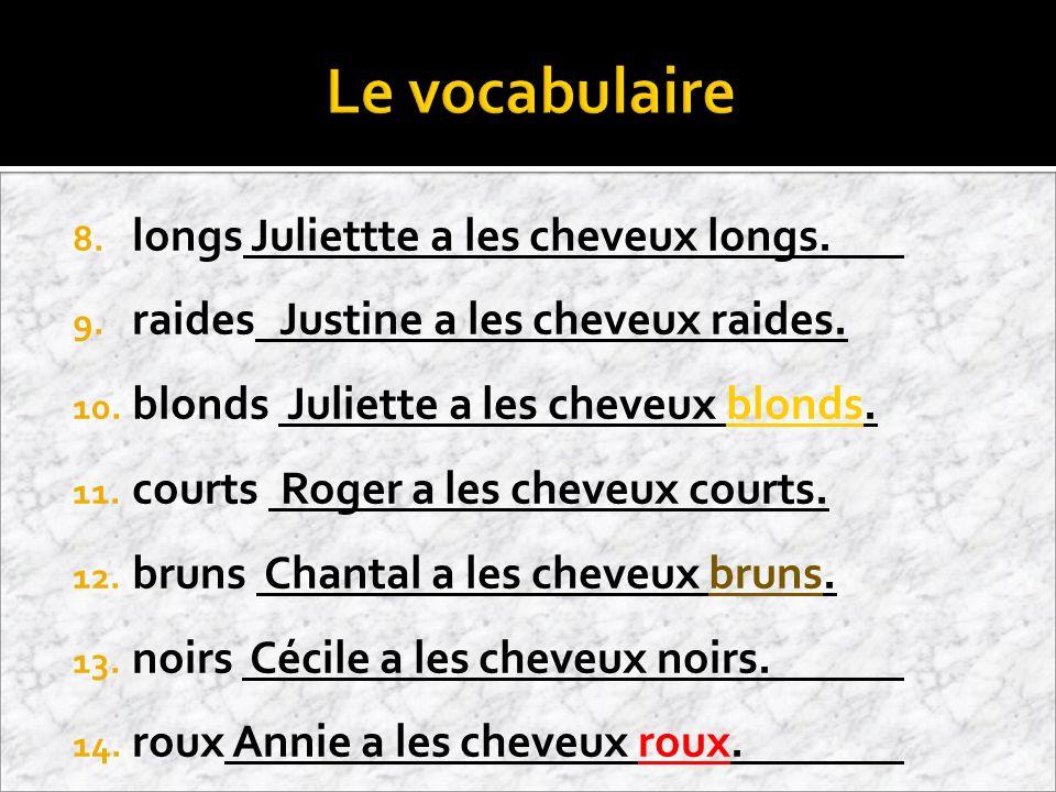 Français 1 mardi, le 13 novembre 2012 Objectifs Aujiourdhui nous faisons: Grammaire: Les yeux Les cheveux Activité Le vocabulaire Cahier p.