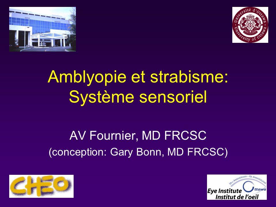 Objectifs du cours 3599: Définir les termes amblyopie et strabisme 3600: Classer les sous-types damblyopie en fonction de leur cause, y compris lamblyopie par dépravation sensorielle, réfractive et strabique 3601: Décrire 3 techniques pour le traitement de lamblyopie