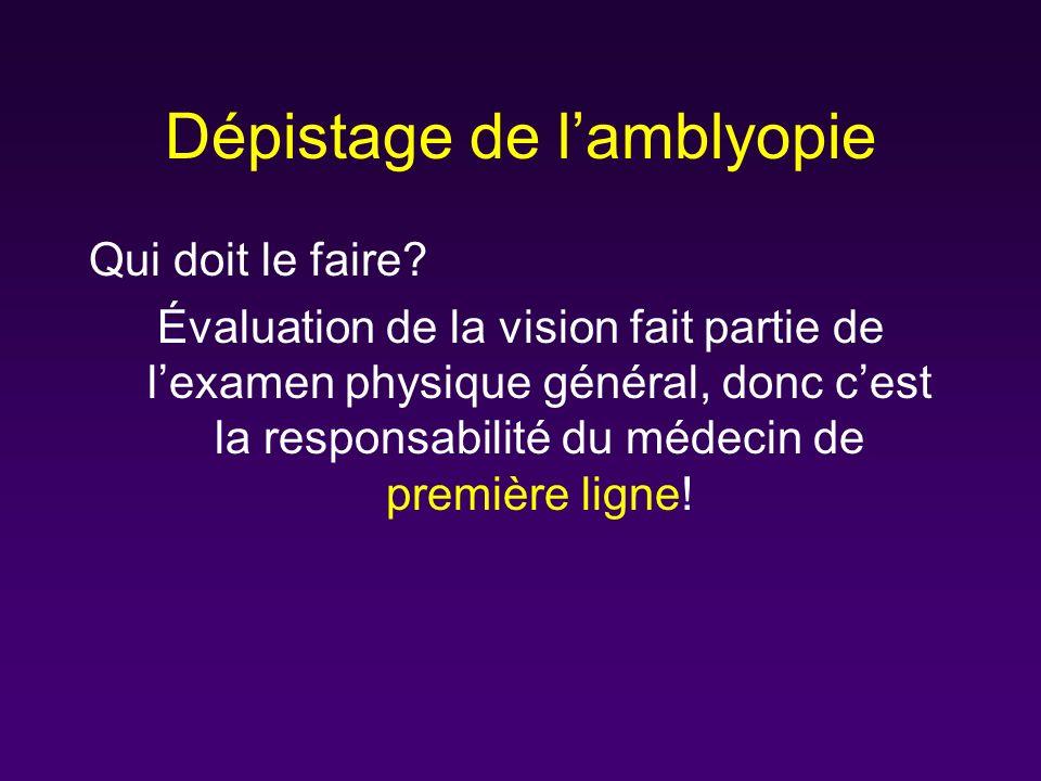Dépistage de lamblyopie Qui doit le faire? Évaluation de la vision fait partie de lexamen physique général, donc cest la responsabilité du médecin de