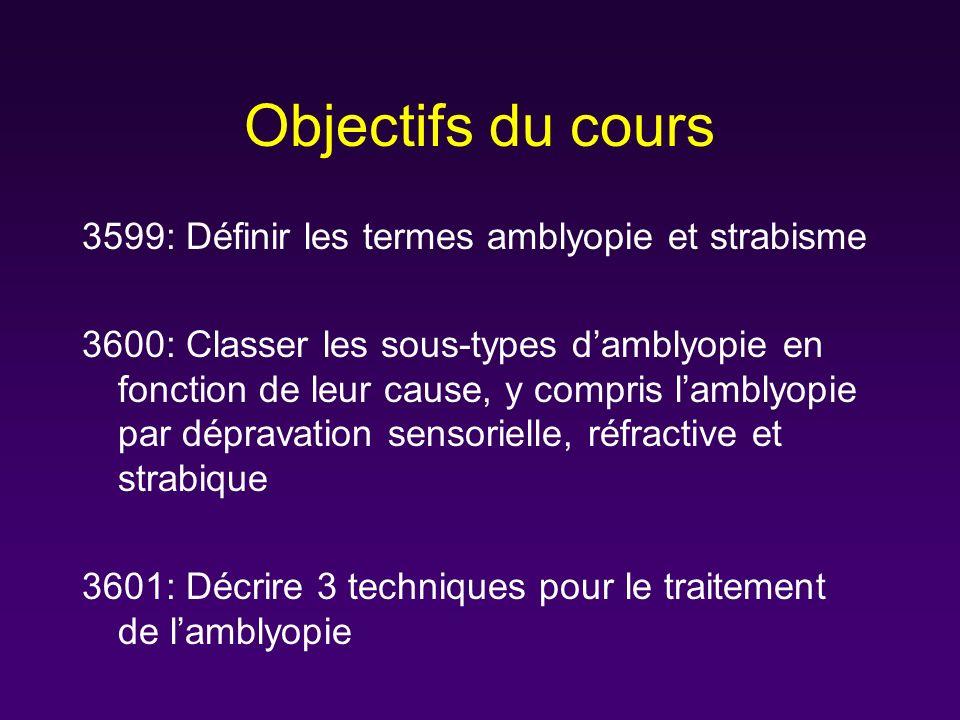 Objectifs du cours 3599: Définir les termes amblyopie et strabisme 3600: Classer les sous-types damblyopie en fonction de leur cause, y compris lambly