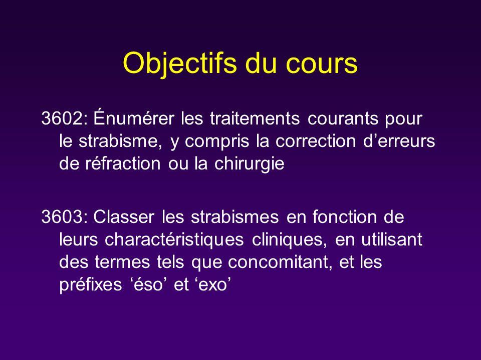 Objectifs du cours 3602: Énumérer les traitements courants pour le strabisme, y compris la correction derreurs de réfraction ou la chirurgie 3603: Cla