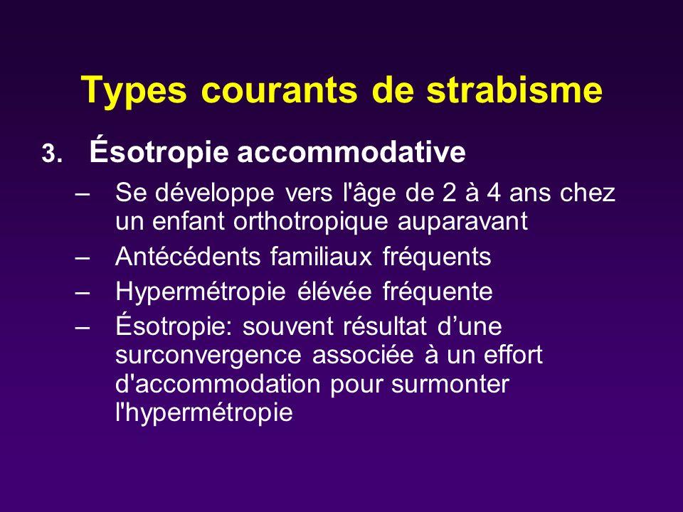 Types courants de strabisme 3. Ésotropie accommodative –Se développe vers l'âge de 2 à 4 ans chez un enfant orthotropique auparavant –Antécédents fami