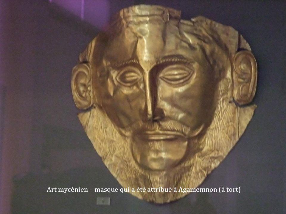 Art mycénien – masque qui a été attribué à Agamemnon (à tort)