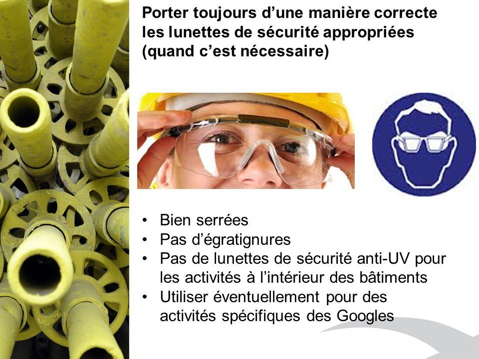 Porter toujours dune manière correcte les lunettes de sécurité appropriées (quand cest nécessaire) Bien serrées Pas dégratignures Pas de lunettes de sécurité anti-UV pour les activités à lintérieur des bâtiments Utiliser éventuellement pour des activités spécifiques des Googles