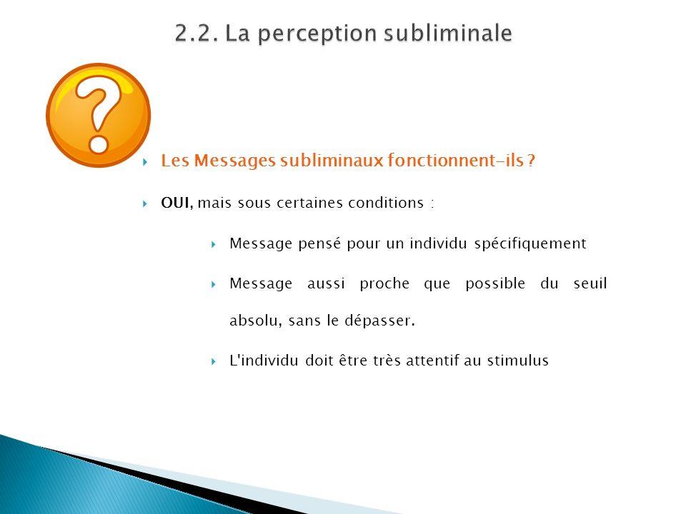 Les Messages subliminaux fonctionnent-ils ? OUI, mais sous certaines conditions : Message pensé pour un individu spécifiquement Message aussi proche q