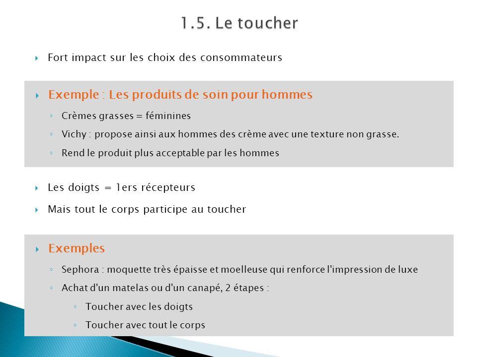 Fort impact sur les choix des consommateurs Les doigts = 1ers récepteurs Mais tout le corps participe au toucher Exemple : Les produits de soin pour h