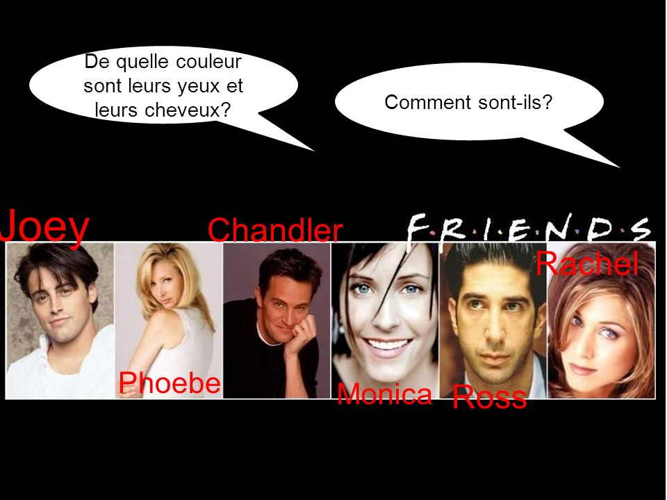 De quelle couleur sont leurs yeux et leurs cheveux? Comment sont-ils? Joey Phoebe Monica Chandler Ross Rachel