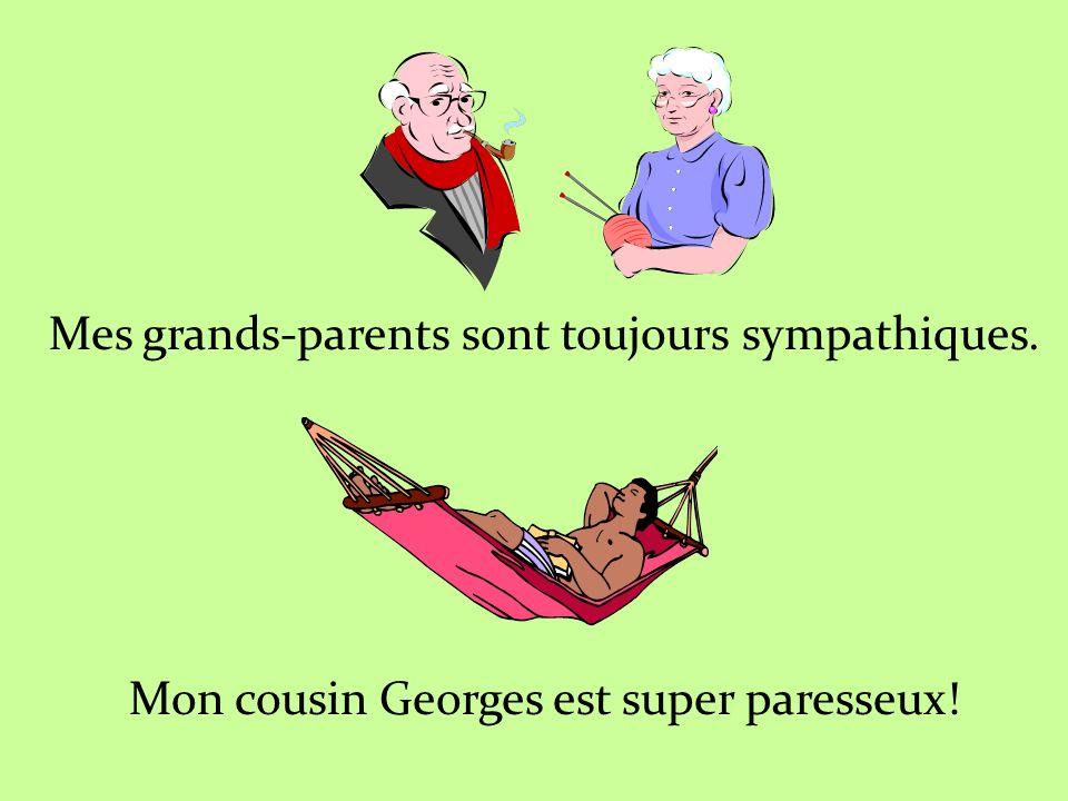 Mes grands-parents sont toujours sympathiques. Mon cousin Georges est super paresseux!