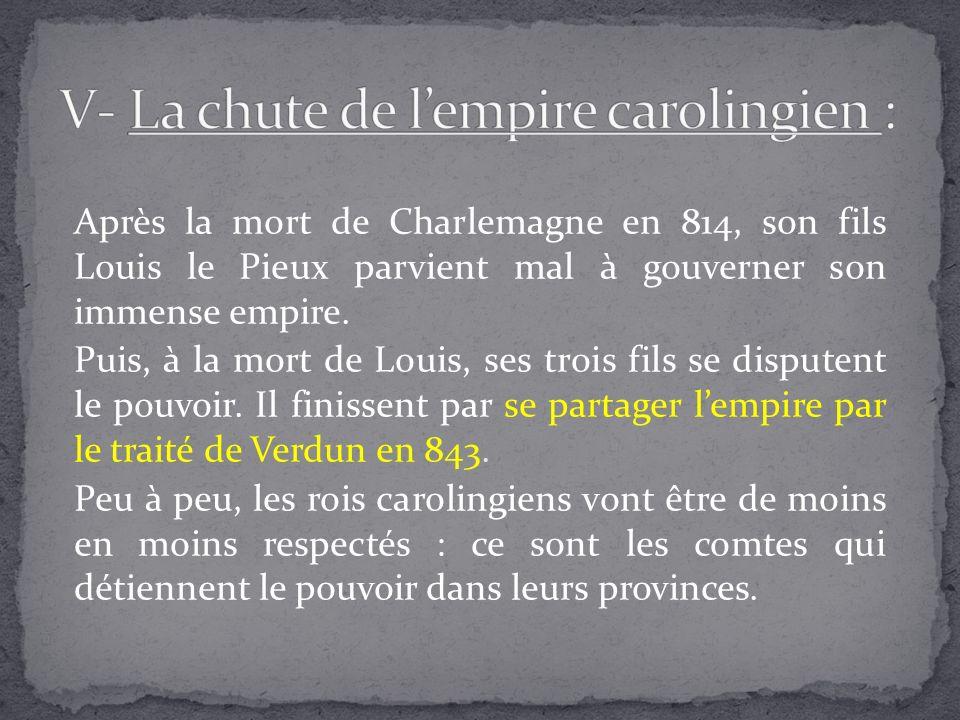 Après la mort de Charlemagne en 814, son fils Louis le Pieux parvient mal à gouverner son immense empire. Puis, à la mort de Louis, ses trois fils se