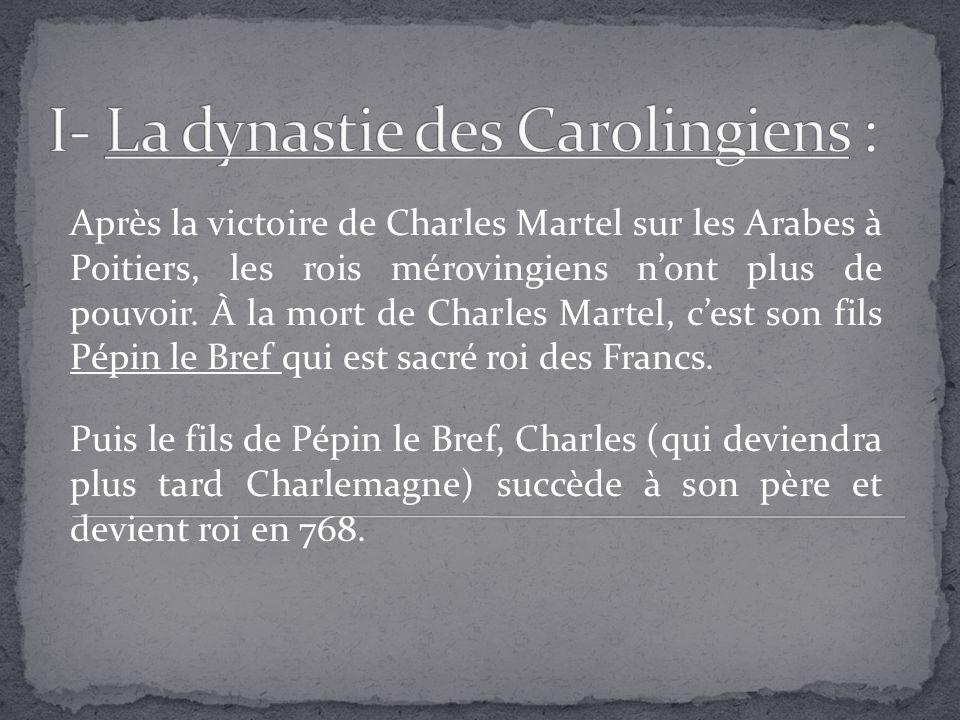 Après la victoire de Charles Martel sur les Arabes à Poitiers, les rois mérovingiens nont plus de pouvoir. À la mort de Charles Martel, cest son fils