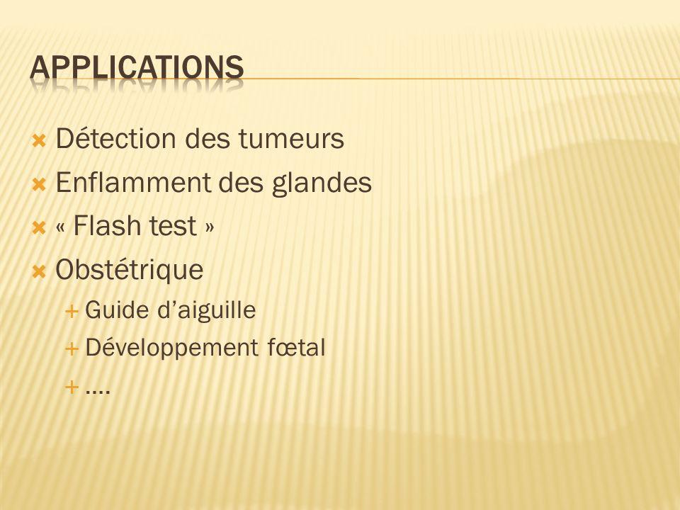 Détection des tumeurs Enflamment des glandes « Flash test » Obstétrique Guide daiguille Développement fœtal ….