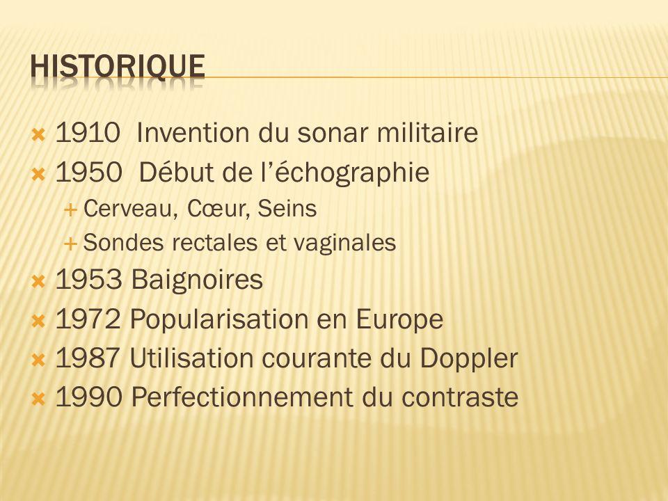 1910 Invention du sonar militaire 1950 Début de léchographie Cerveau, Cœur, Seins Sondes rectales et vaginales 1953 Baignoires 1972 Popularisation en