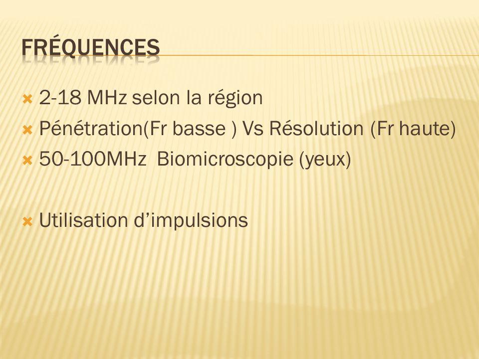 2-18 MHz selon la région Pénétration(Fr basse ) Vs Résolution (Fr haute) 50-100MHz Biomicroscopie (yeux) Utilisation dimpulsions