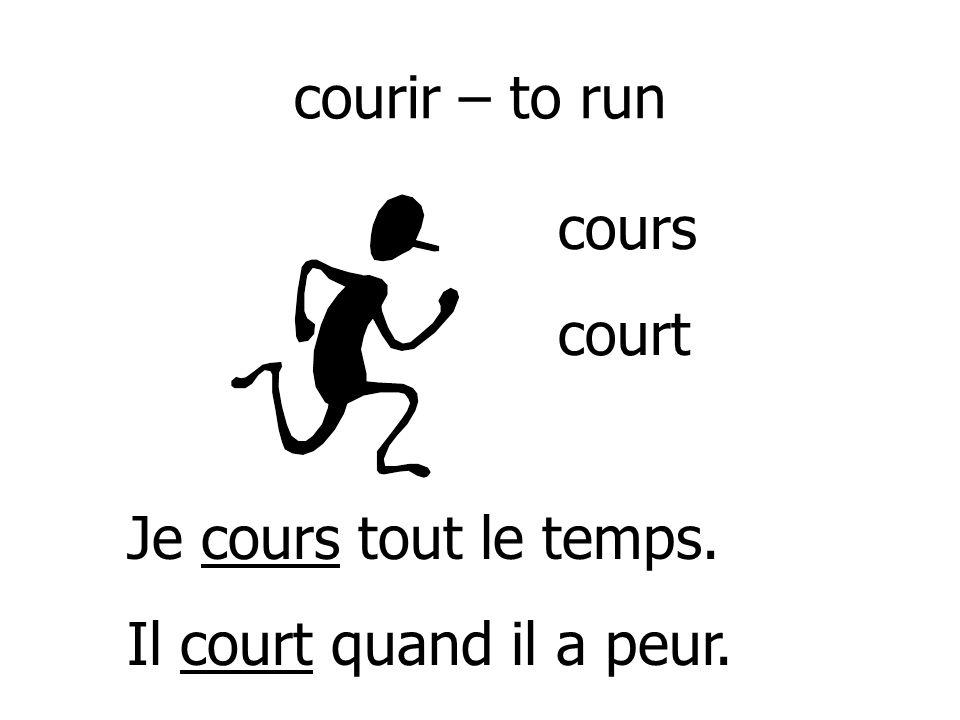 courir – to run Je cours tout le temps. Il court quand il a peur. cours court